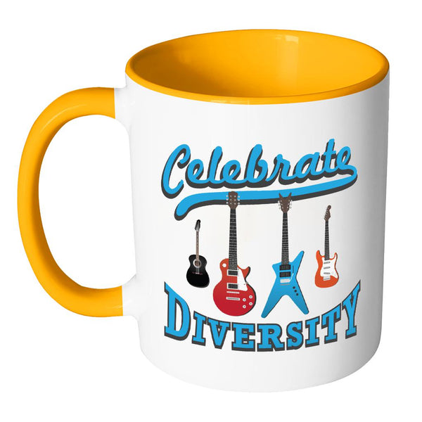 Celebrate Diversity Cool Funny Awesome Unique Guitarist 11oz Accent Coffee Mug-NeatFind.net