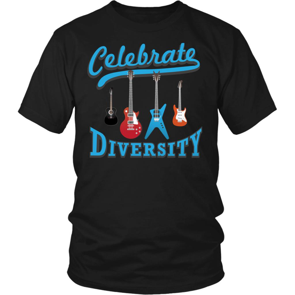 Celebrate Diversity Cool Funny Awesome Unique Guitarist Unisex T-Shirt For Women & Men-NeatFind.net