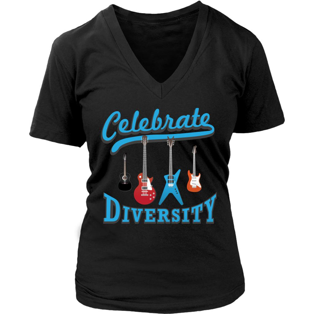 Celebrate Diversity Cool Funny Awesome Unique Guitarist V-Neck T-Shirt For Women-NeatFind.net