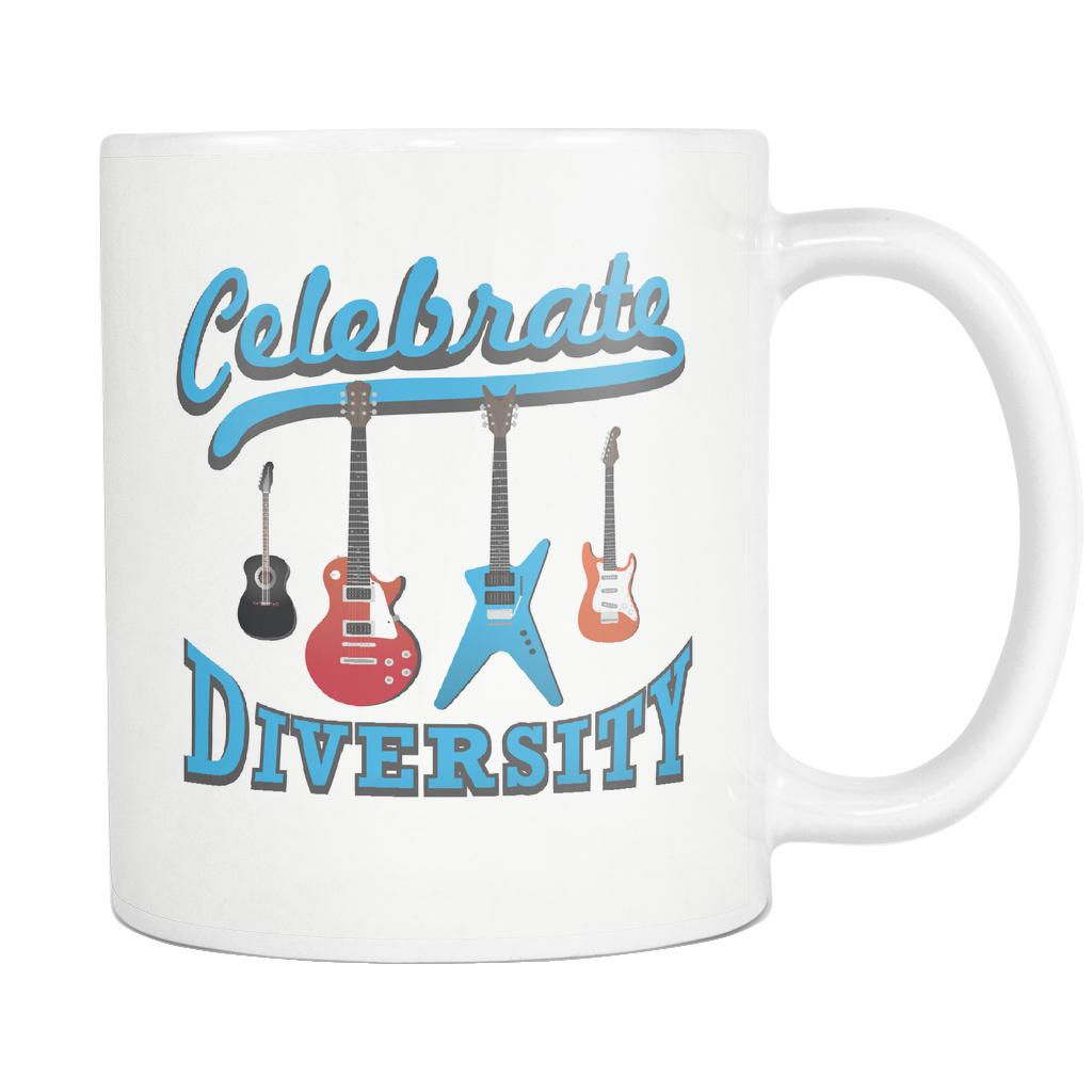 Celebrate Diversity Cool Funny Awesome Unique Guitarist White 11oz Coffee Mug-NeatFind.net