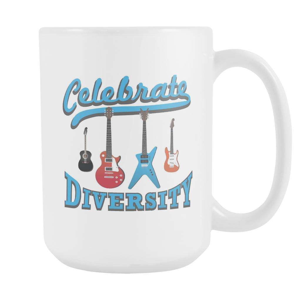 Celebrate Diversity Cool Funny Awesome Unique Guitarist White 15oz Coffee Mug-NeatFind.net