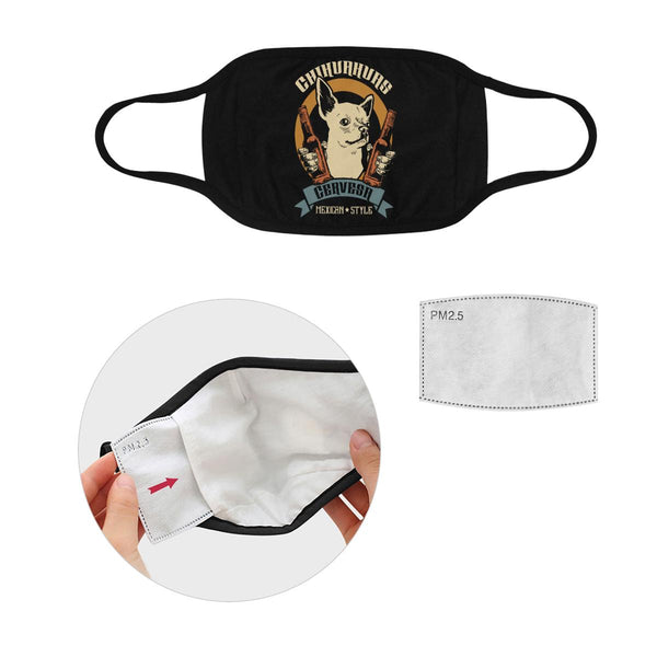 Chihuahuas Cervesa Mexican Style Washable Reusable Cloth Face Mask With Filter-Face Mask-S-Black-NeatFind.net