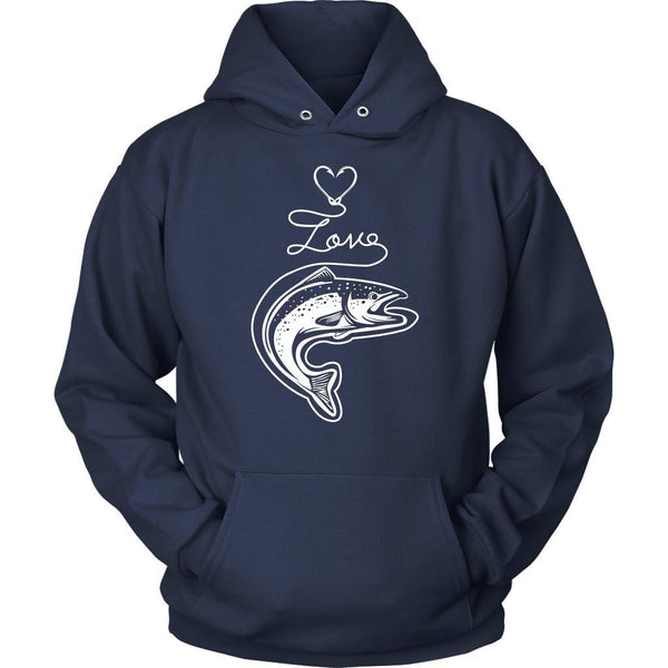 Classic Fish Hook Heart Shape Love Fishing Awesome Cool Unique Gift Hoodies-NeatFind.net
