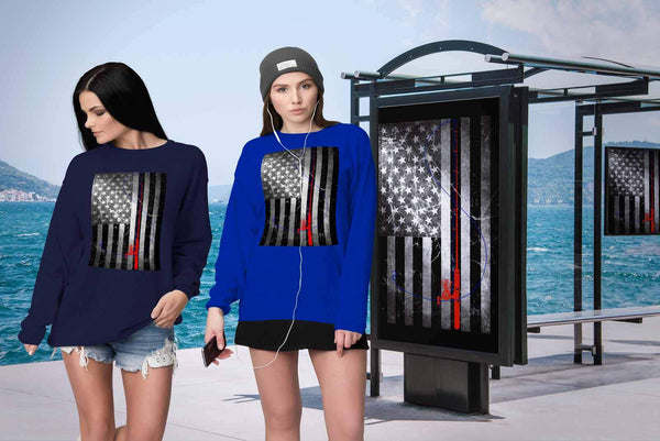 Classic Patriotic Vintage USA Flag Fishing Pole Awesome Cool Unique Gift Sweater-NeatFind.net