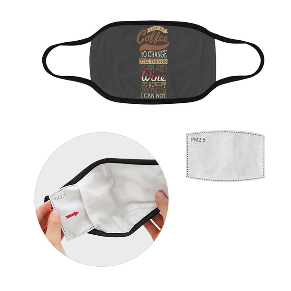 Coffee To Change Things Wine To Accept Things Washable Reusable Cloth Face Mask-L-Grey-NeatFind.net