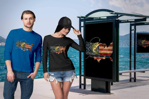 Cool Patriotic USA Flag Angler Angling Largemouth Bass Fishing Gift Long Sleeve-NeatFind.net