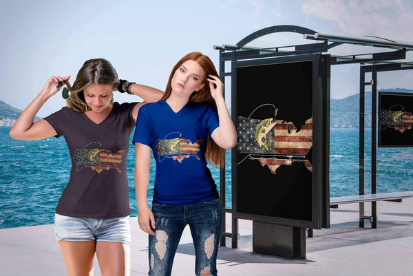 Cool Patriotic USA Flag Angler Angling Largemouth Bass Fishing Gift VNeck TShirt-NeatFind.net