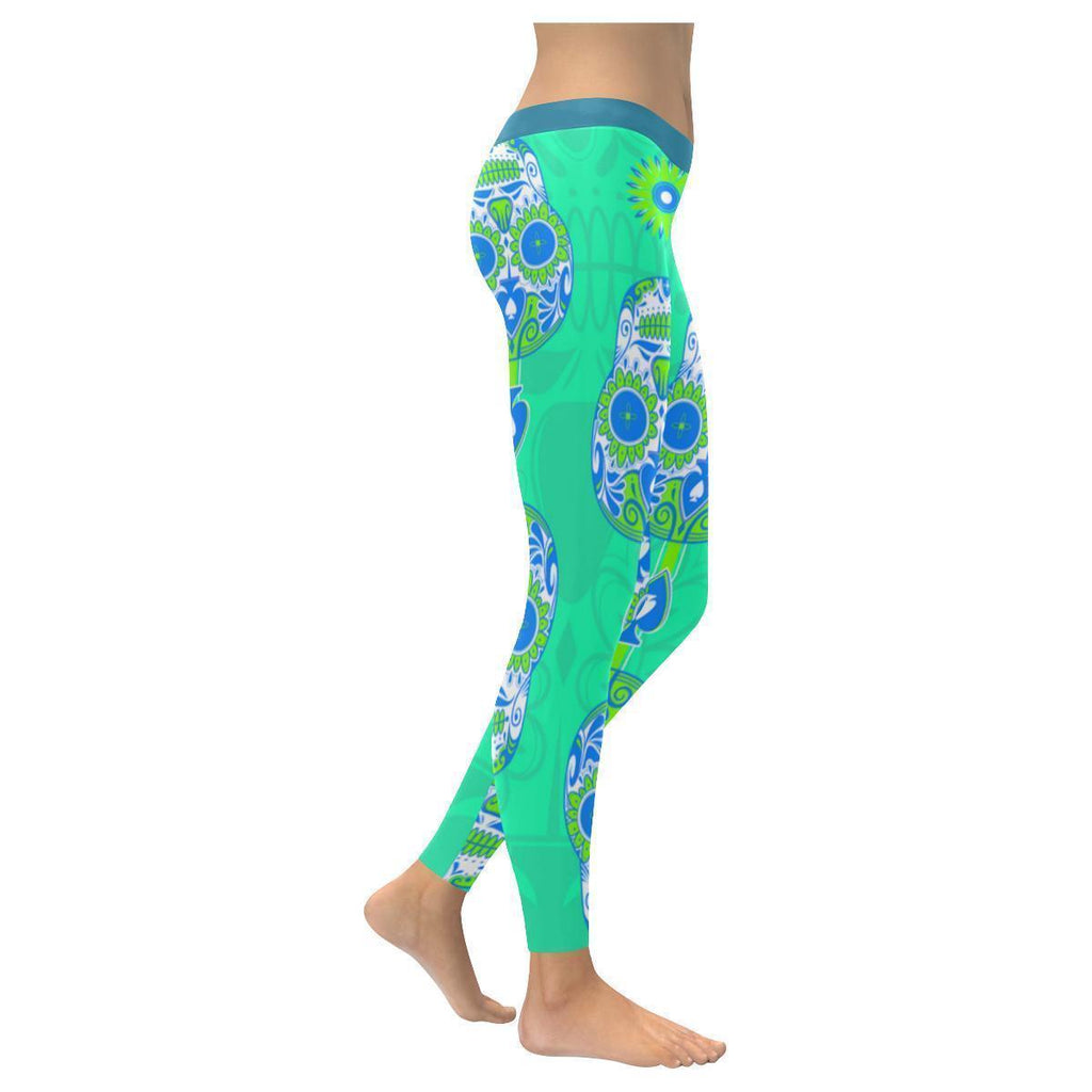 Cool Turquoise Sugar Skull Green Flowers UPF40+ Non See Through Womens Leggings-NeatFind.net