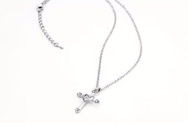 Cute Rhinestones Crystals Silver Cross Heart Pendant & Necklace For Women-NeatFind.net