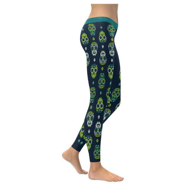 Cute Unique Sugar Skull Vertical Waterfall Pattern Soft UPF40+ Womens Leggings-NeatFind.net