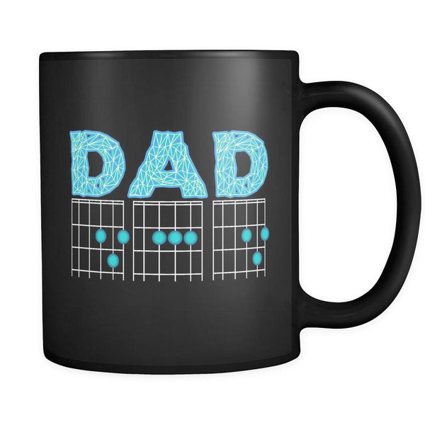 DAD Guitar Chord Cool Funny Awesome Guitarist Black 11oz Coffee Mug-NeatFind.net