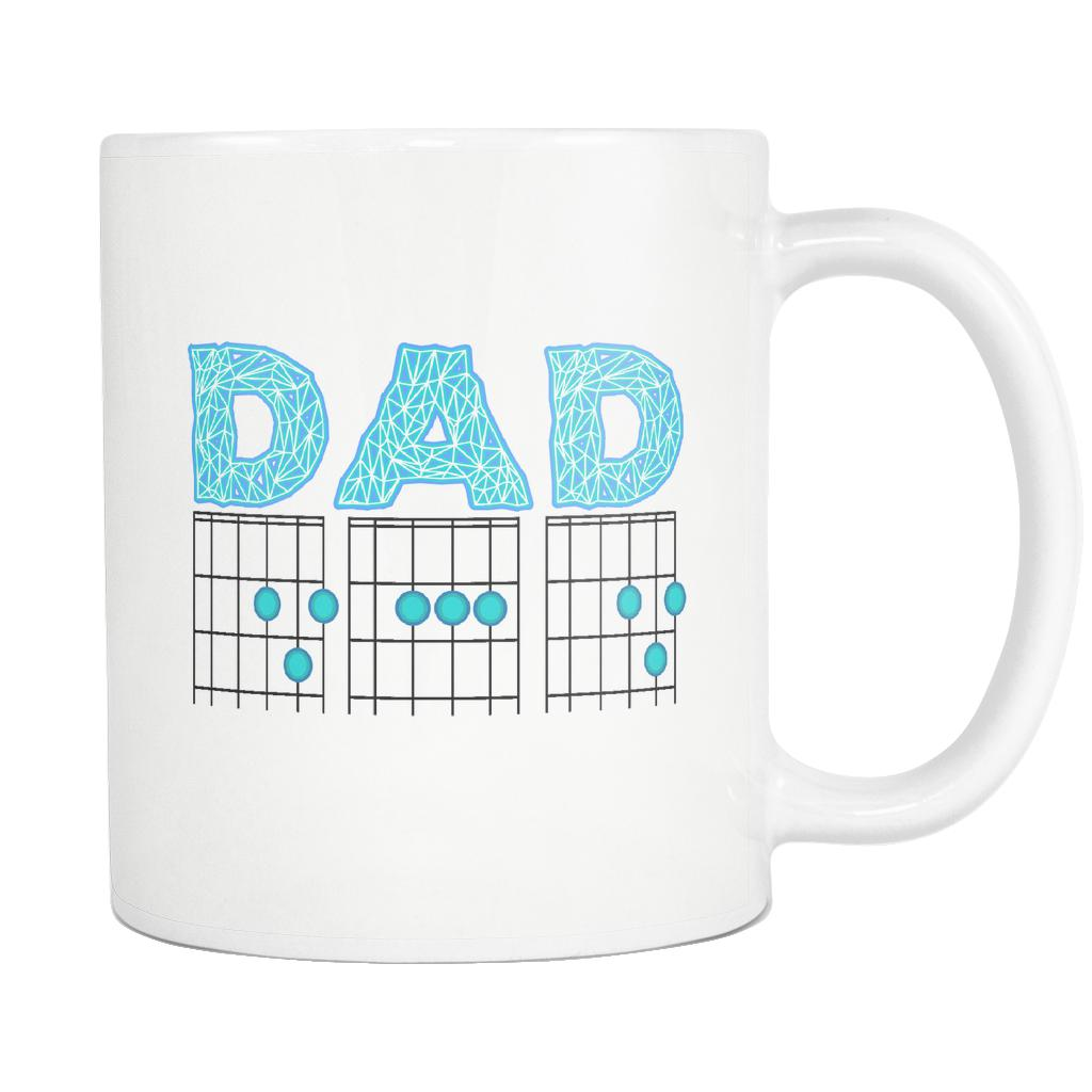 DAD Guitar Chord Cool Funny Awesome Guitarist White 11oz Coffee Mug-NeatFind.net