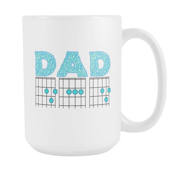 DAD Guitar Chord Cool Funny Awesome Guitarist White 15oz Coffee Mug-NeatFind.net