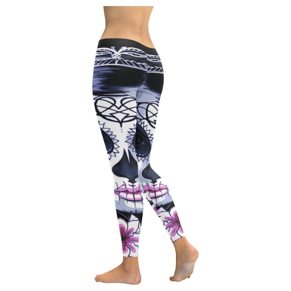 Dia De Los Muertos Sugar Skull Makeup UPF40+ Non See Through Womens Leggings-NeatFind.net