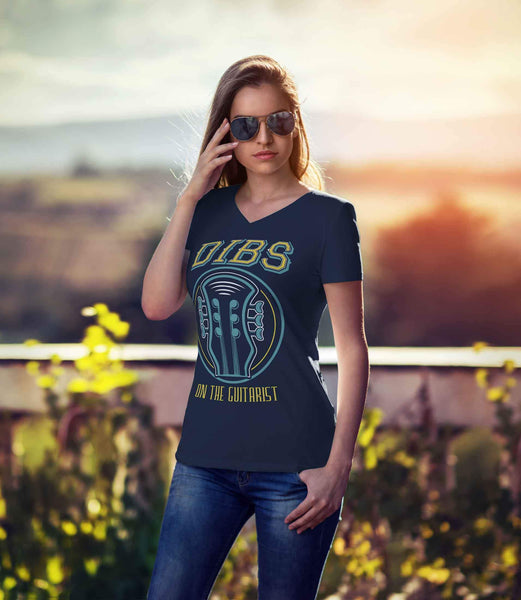 Dibs On The Guitarist Cool Funny Bass Guitar Women V-Neck T-Shirt-NeatFind.net