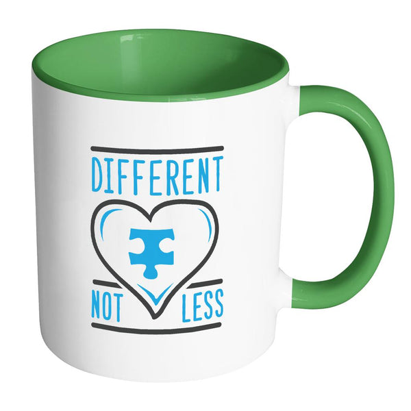 Different Not Less Autism Awareness 11oz Accent Coffee Mug(7 Colors)-NeatFind.net