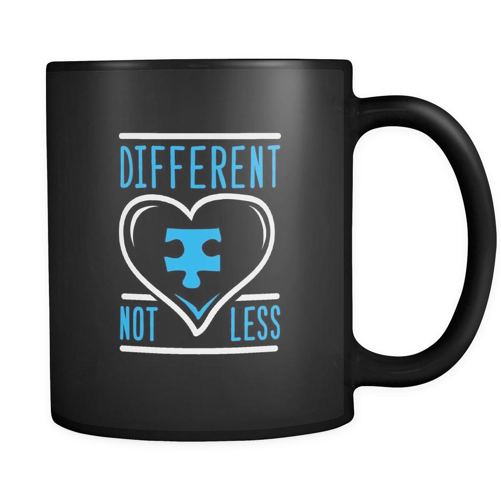 Different Not Less Autism Awareness Black 11oz Coffee Mug-NeatFind.net