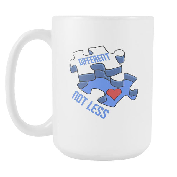 Different Not Less Autism Awareness V2 White 15oz Coffee Mug-NeatFind.net