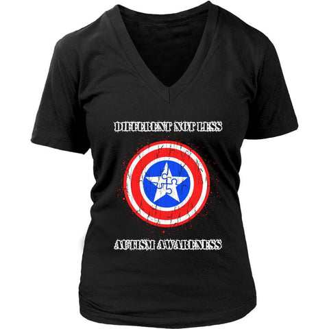 Different Not Less Captain America Shield Autism Awareness Gift Idea VNeck Shirt-NeatFind.net