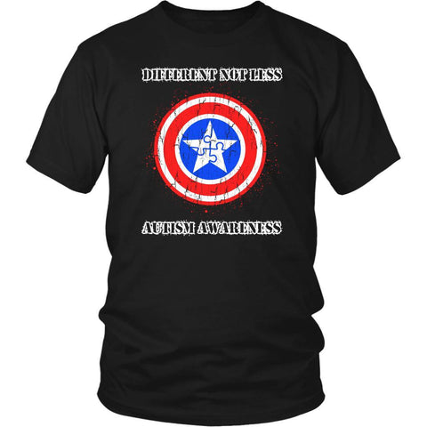 Different Not Less Captain America Shield Autism Awareness Gift Ideas TShirt-NeatFind.net
