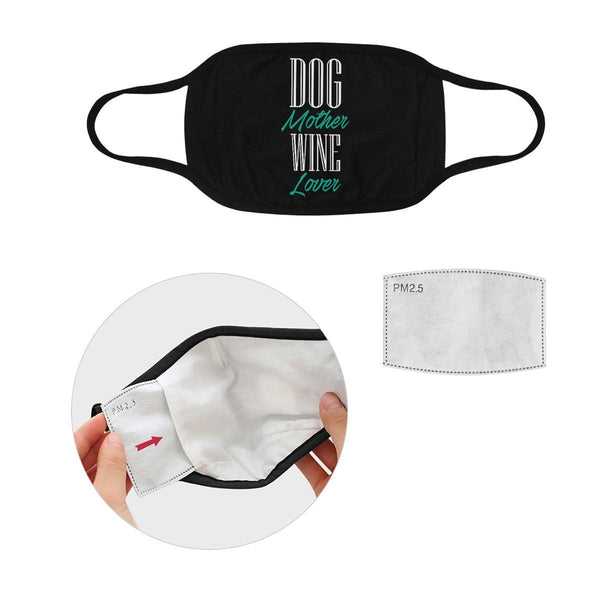 Dog Mother Wine Lover Washable Reusable Cloth Face Mask With Filter Pocket-Face Mask-S-Black-NeatFind.net