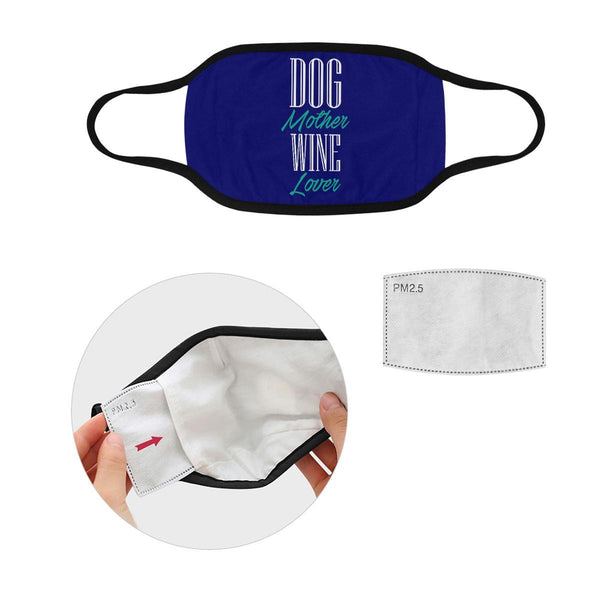 Dog Mother Wine Lover Washable Reusable Cloth Face Mask With Filter Pocket-Face Mask-S-Navy-NeatFind.net