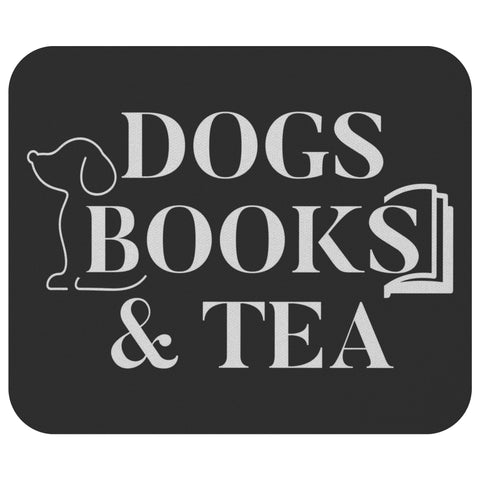 Dogs Books & Tea Unique Avid Reader Cute Funny Book Lover Gift Ideas Mousepad-NeatFind.net