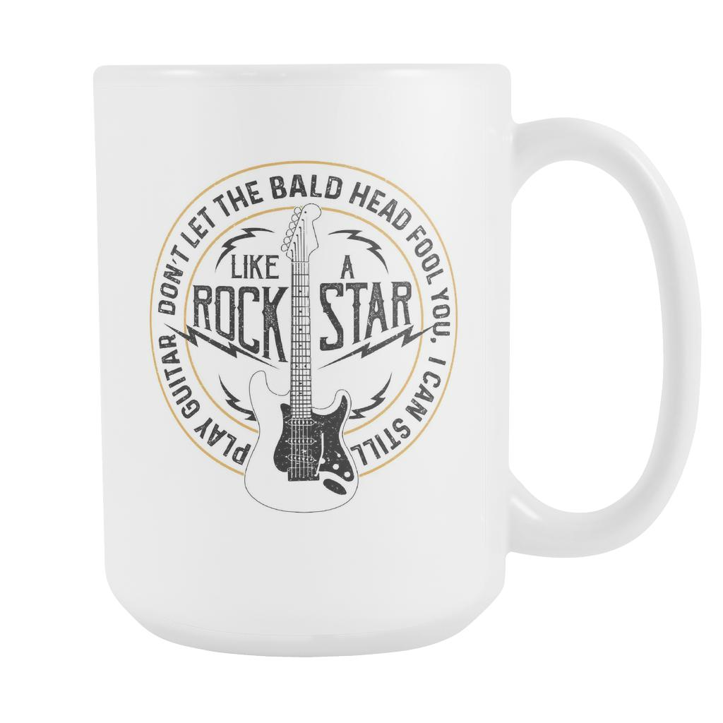 Don't Let The Bald Head Fool You I Can Still Play Guitar Like RockStar Funny Guitarist White 15oz Coffee Mug-NeatFind.net