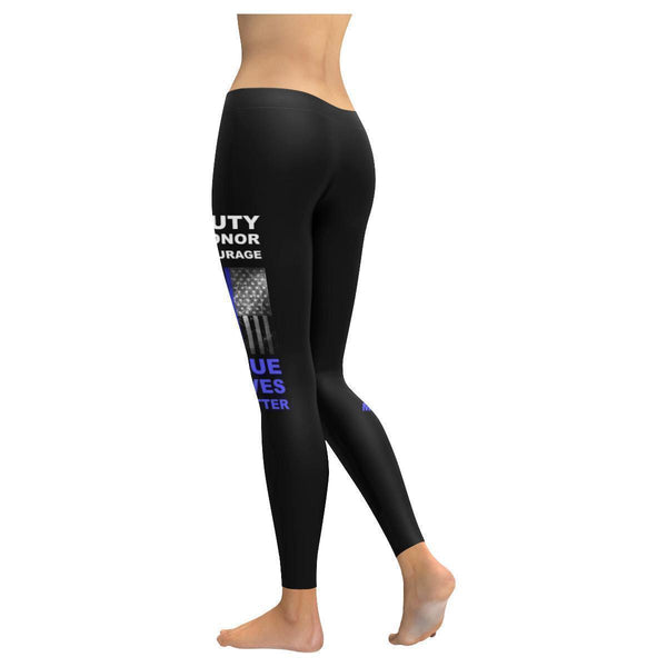 Duty Honor Courage Blue Lives Matter Police Soft UPF40+ Moisture Womens Leggings-NeatFind.net