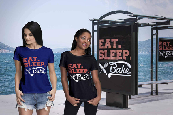 Eat Sleep Bake Funny Gifts Ideas For Baker Baking Super Soft Comfy Women TShirt-NeatFind.net