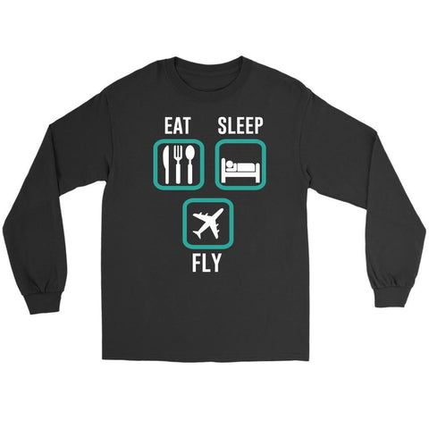 Eat Sleep Fly Awesome Humor Unique Aviation Funny Pilot Gift Ideas Long Sleeve-NeatFind.net