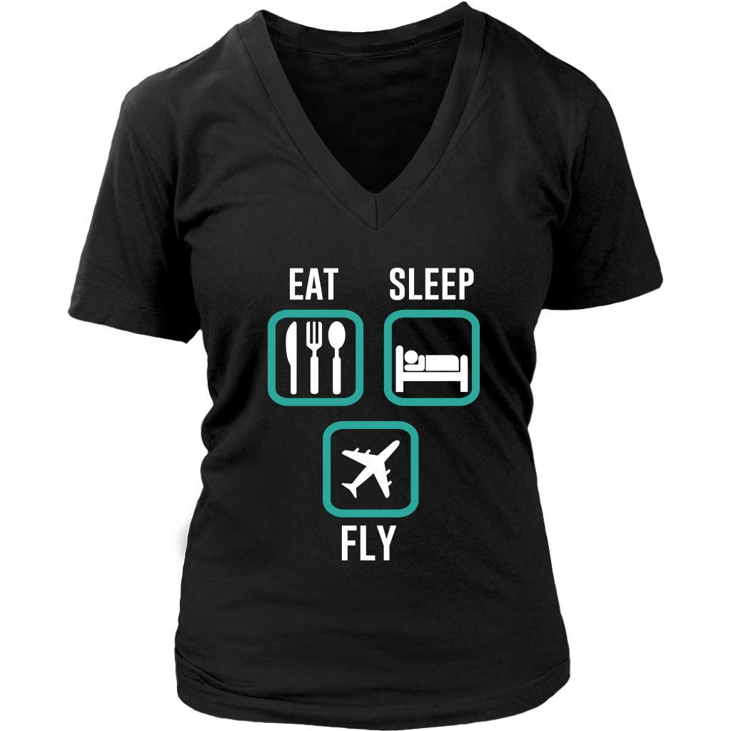 Eat Sleep Fly Awesome Humor Unique Aviation Funny Pilot Gift Ideas VNeck TShirt-NeatFind.net