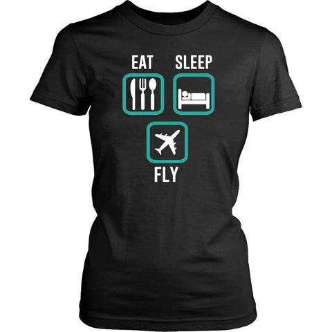 Eat Sleep Fly Awesome Humor Unique Aviation Funny Pilot Gift Ideas Women TShirt-NeatFind.net