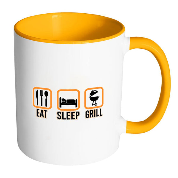 Eat Sleep Grill Awesome BBQ Cool Funny Gifts 7Color 11oz Coffee Mug-NeatFind.net