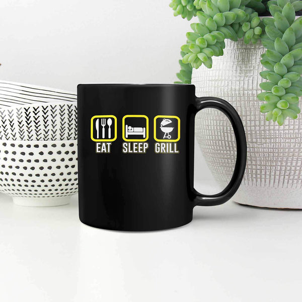 Eat Sleep Grill Awesome BBQ Cool Funny Gifts Black 11oz Coffee Mug-NeatFind.net