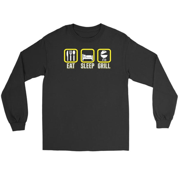 Eat Sleep Grill Awesome BBQ Cool Funny Gifts Gag Soft Comfy Long Sleeve T-Shirt-NeatFind.net