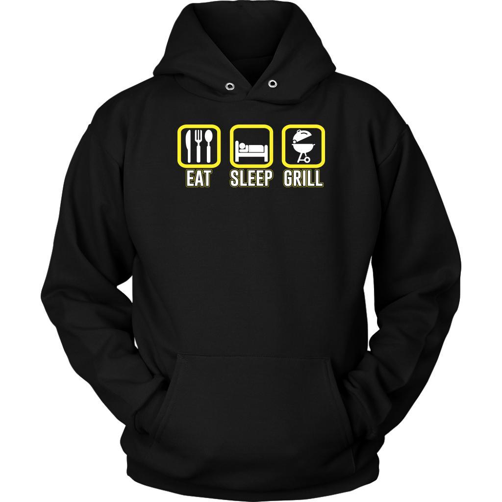 Eat Sleep Grill Awesome BBQ Cool Funny Gifts Gag Soft Comfy Unisex Hoodie-NeatFind.net