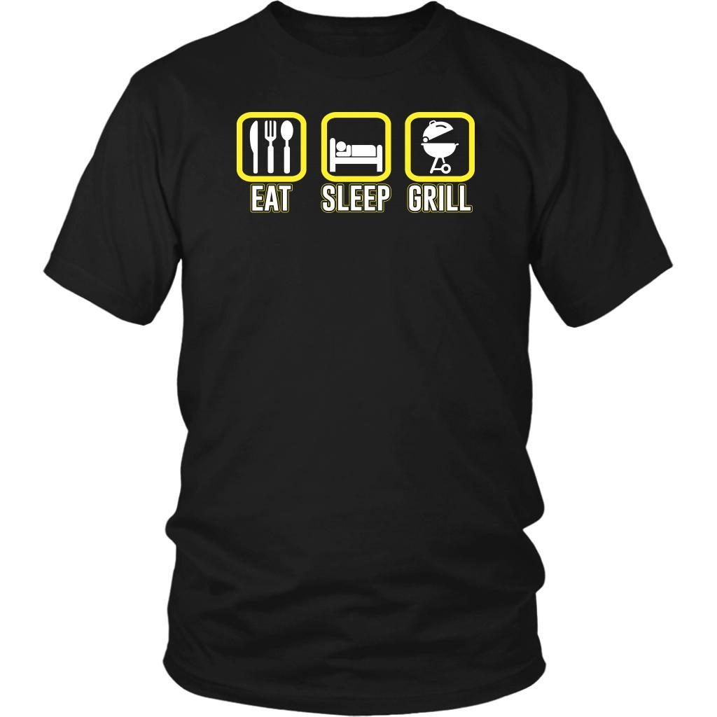 Eat Sleep Grill Awesome BBQ Cool Funny Gifts Gag Soft Comfy Unisex T-Shirt-NeatFind.net