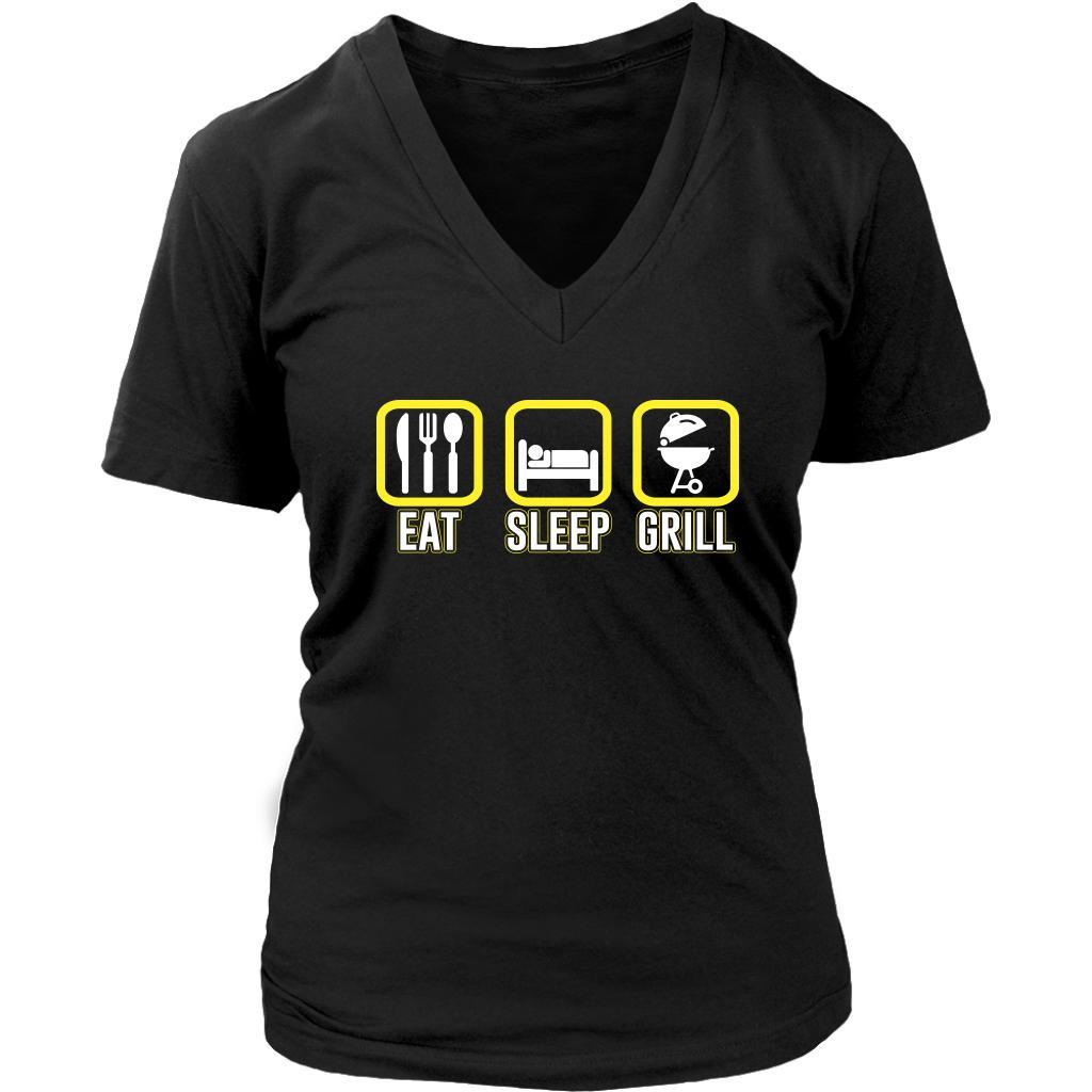 Eat Sleep Grill Awesome BBQ Cool Funny Gifts Gag Soft Comfy V-Neck T-Shirt Women-NeatFind.net