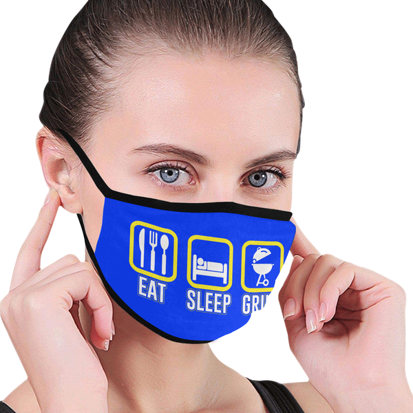 Eat Sleep Grill BBQ Washable Reusable Cloth Face Mask With Filter Pocket-NeatFind.net