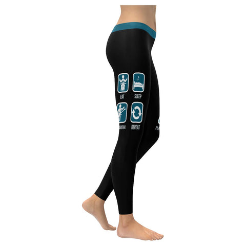 Eat Sleep Play Guitar Repeat Cool Funny Awesome Guitarist Gift Womens Leggings-NeatFind.net