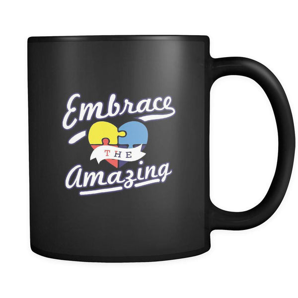 Embrace The Amazing Autism Awareness Black 11oz Coffee Mug-NeatFind.net