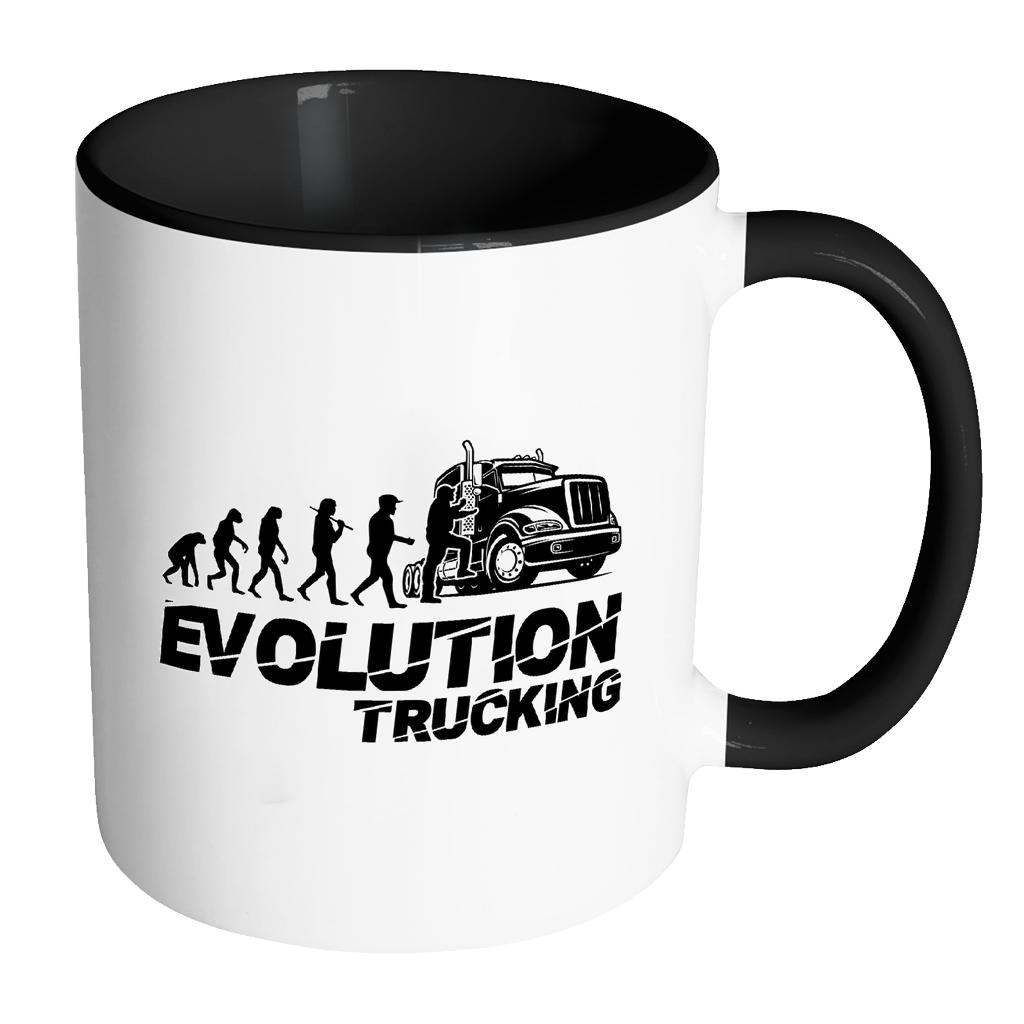 Evolution Trucking Practical Funny Gifts For Truck Driver White 11oz 7Colors Mug-NeatFind.net