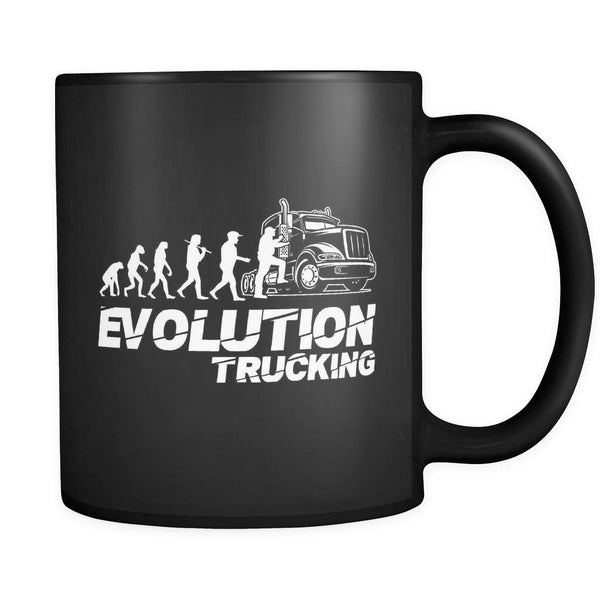 Evolution Trucking Practical Funny Gifts For Truckers Black 11oz Coffee Mug-NeatFind.net