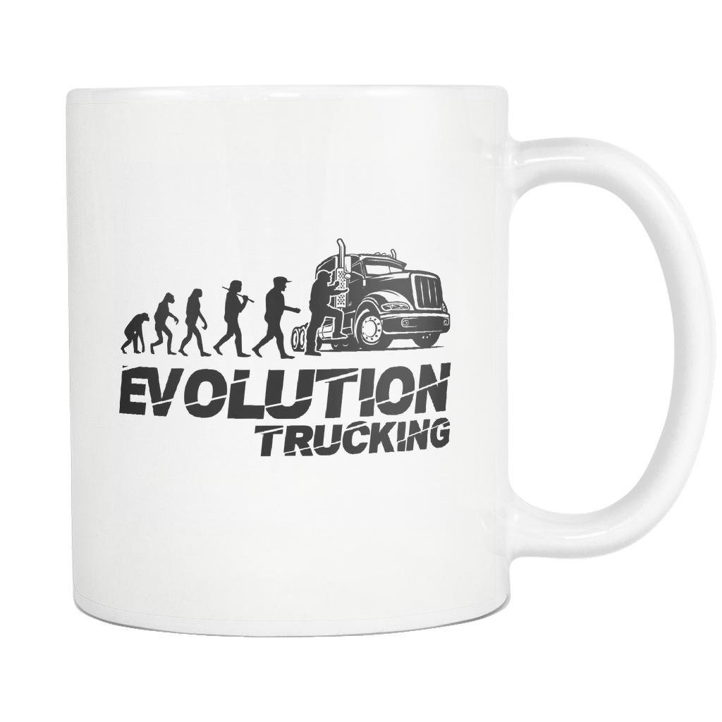 Evolution Trucking Practical Funny Gifts For Truckers White 11oz Coffee Mug-NeatFind.net
