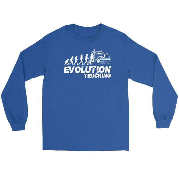 Evolution Trucking Practical Funny Truckers Gifts Long Sleeve Tee-NeatFind.net