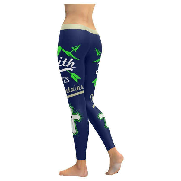 Faith Moves Mountains Green Soft Breathable Christian UPF40+ Women Leggings-NeatFind.net