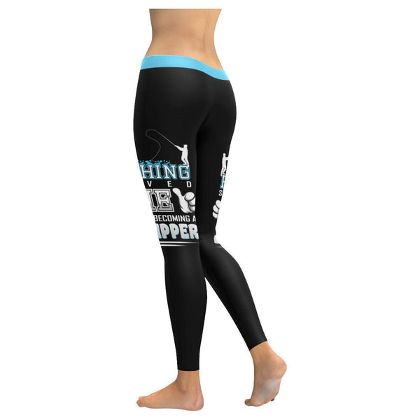 Fishing Saved Me From Becoming A Stripper V2 Low Rise Leggings For Women (3 colors)-NeatFind.net