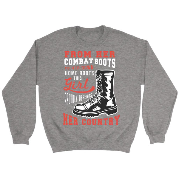 From Her Combat Boots To Her Down Home Roots This Girl Proudly Defends Her Country Patriotic USA Military Women Unisex Crewneck Sweatshirt For Women-NeatFind.net