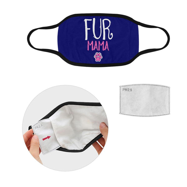 Fur Mama Funny Cat Lovers Washable Reusable Cloth Face Mask With Filter Pocket-Face Mask-S-Navy-NeatFind.net